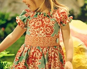 LAST ONE Aqua and Tangerine Twirl Dress  Sizes 12Mo, 18Mo or 2T