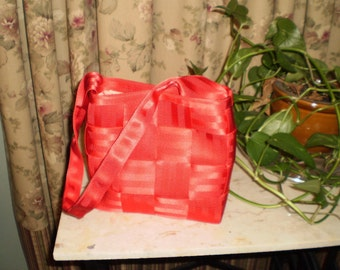 Red Purse w/one  Handle Quilted Lining