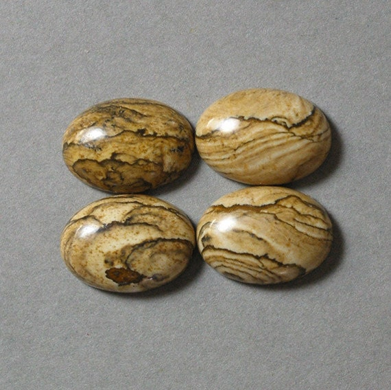PICTURE JASPER oval cabochons four 13X18mm designer cabs