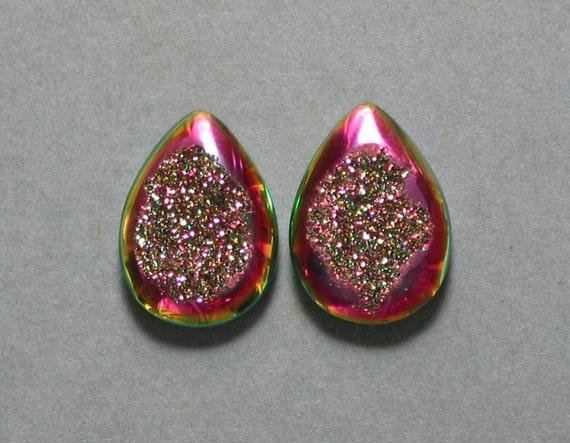Agate Druzy drop pear cabochons two designer cab