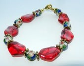 Reserved for Paula: Red Glass with Blue Cloisonne Beaded Bracelet