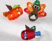 Autumn Hair Clippie Set pumpkin bow apple hair clip turkey hair clippie fall hair accessories