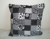 Decorative Fun Black and White Patchwork Accent Pillow Cover WITH Insert 14x14