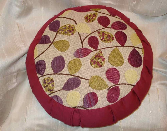 Zafu meditation pillow, Berry color with fun tapestry design circle