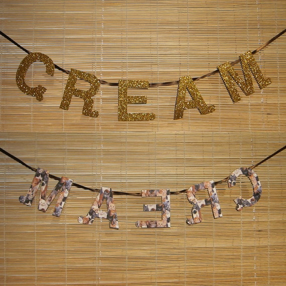 "Cats Rule Everything Around Me ""C.R.E.A.M."" Gold Glitter Banner"