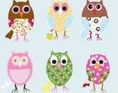 Vinyl Wall Decal Stickers--OWLS--Girls--Baby--Nursery