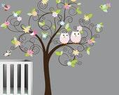 Swirl Tree Leaves Flowers Birds Owls Vinyl Wall Decal Sticker
