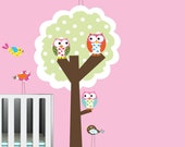 Polka Dot Tree Owls Birds Vinyl Wall Decal Sticker Baby Nursery