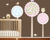 Polka Dot Trees Owls Birds Vinyl Wall Decal Sticker