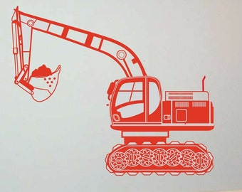 HUGE Excavator 52 X 43 Vinyl Wall Decal Graphic Sticker-kids-boys wall decor