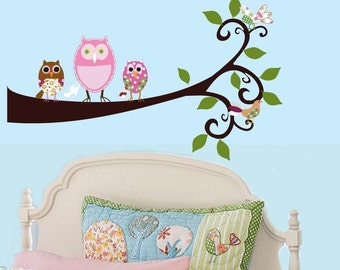 Vinyl Wall Sticker Decal OWLS Birds on a branch