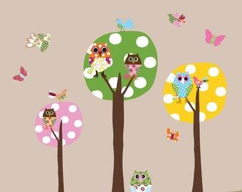 3 Colorful Polka Dot Circle Trees- Owls-Vinyl Wall Sticker Art Design Birds