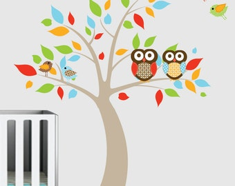 Vinyl Wall Decals - Colorful Leaf Tree Decal with Owls Birds