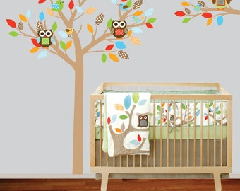 Boys Nursery Tree and Branch Vinyl Wall Decal Owls Birds