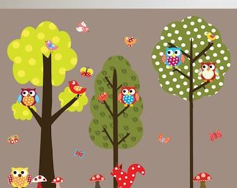 Vinyl Wall Decal  KidsTree with Polka Dots- Owls - Birds Vinyl Wall Decal Sticker Home Decor