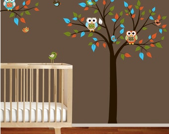 Vinyl Wall Decal Stickers Tree Branch Set with Owls Birds Boy Girl Nursery