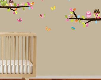 Children Wall Decal Branch Set with Owls Birds and Butterflies Vinyl Wall Decals