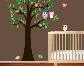 Wall decal tree with owls and birds nursery tree decal sticker boy girl