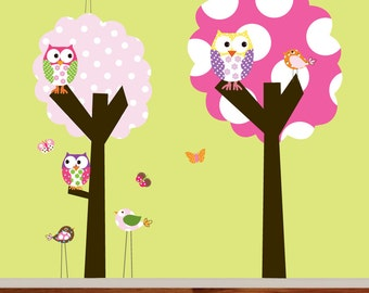 Childrens Wall Decals Polka Dot Trees Owls Birds Vinyl Wall Decal Sticker