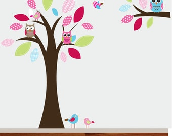 Vinyl Wall Decal Stickers Tree Branch Set with Owls Birds