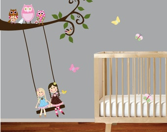 VACATION SALE-All orders ship Aug 15th!!Vinyl Wall Decal Swirl Branch Set with dolls on swing,owls,birds and butterflies