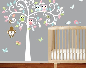 Curly Tree Vinyl Decal with Owls and Birds Nursery Vinyl Wall Decal