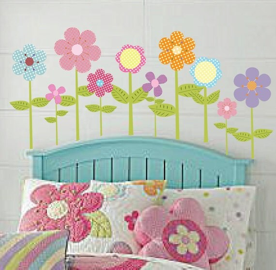Polka Dot Flower Vinyl Wall Decal Sticker Nursery Girl Wall Decor