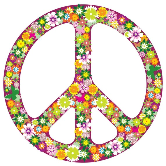 Items Similar To Floral Pattern Peace Sign Symbol Vinyl