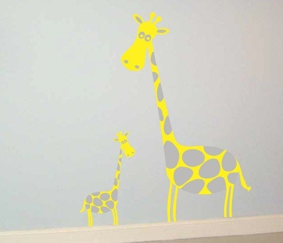 Mother Giraffe and Baby Vinyl Wall Art Decal Sticker Graphics