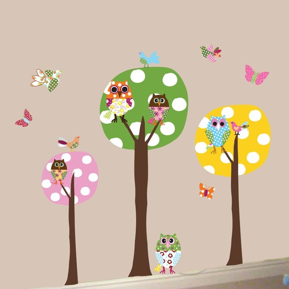 3 Colorful Polka Dot Circle Trees- Owls-Vinyl Wall Sticker Art Design Birds