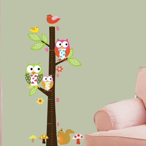 Vinyl Wall Decal  Vinyl Wall Art - Growth Chart - Owls - Birds - Flowers