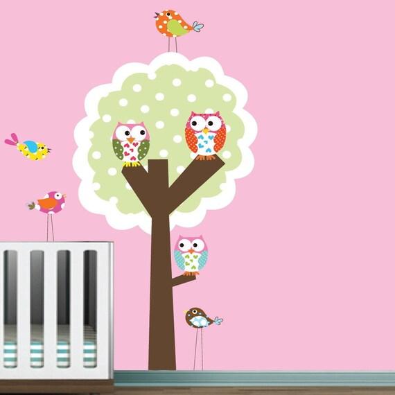 Polka Dot Tree Owls Birds Vinyl Wall Decal Sticker Baby Nursery
