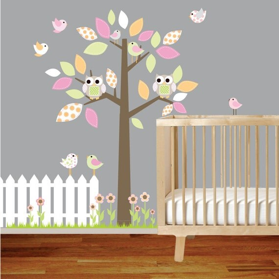 Nursery Vinyl Wall Decal Tree with Fence Owls Birds Flowers