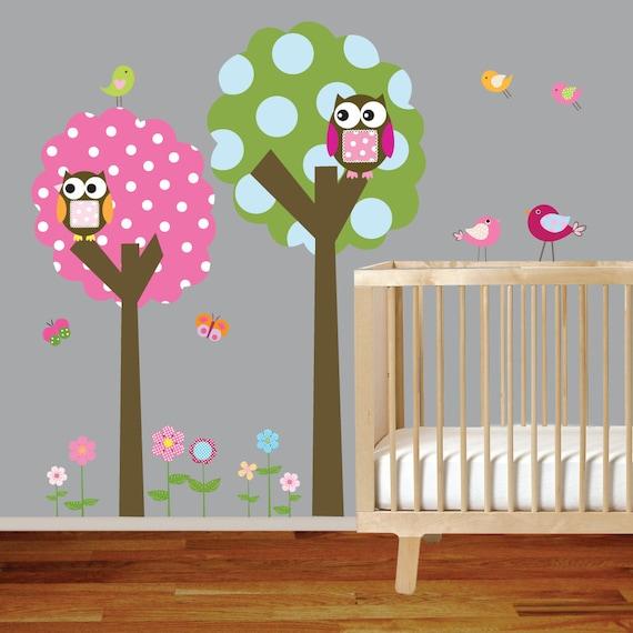 Polka Dot Trees Owls Birds Vinyl Wall Decal Sticker