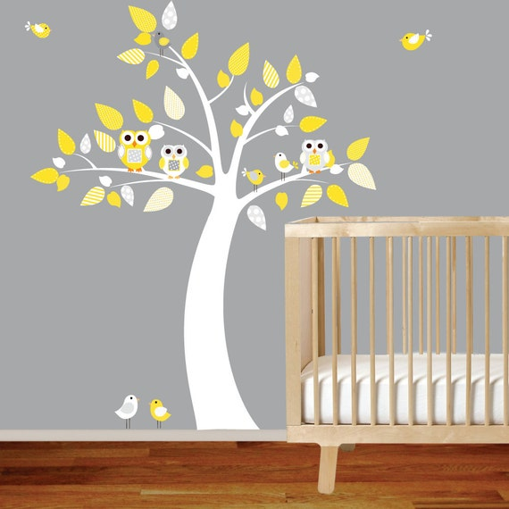 Nursery Tree Decal Girl Boy Vinyl Wall Stickers Owls Tree Birds Yellow