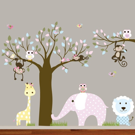 Jungle Safari Tree Monkeys Elephant Giraffe Vinyl Wall Art Decals Nursery Kids Girls