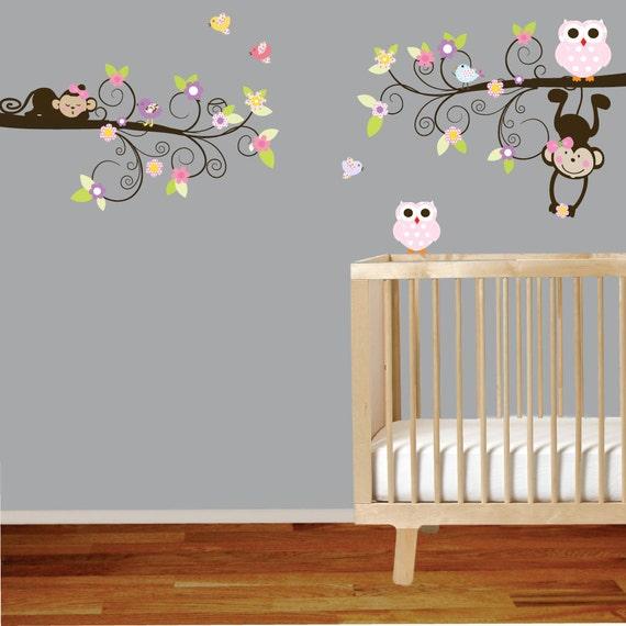 Vinyl Wall Decal Swirl Branch Set with Monkeys  Owls Birds Flowers Leaves
