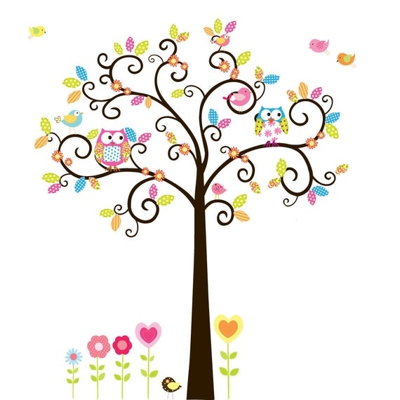 Custom Listing Swirl Flower Tree with Owls and Birds Baby Nursery Vinyl Wall Decal Swirl Tree