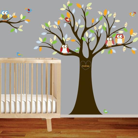 Vinyl Wall Decal Stickers Owl Tree Set with Custom Name Nursery Boy Baby