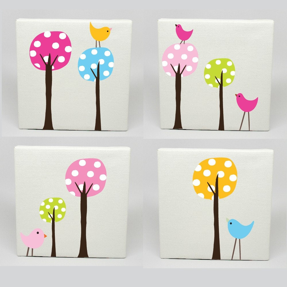 Kids canvas art set of 4 polka dot tree birds nursery for Canvas art ideas for kids