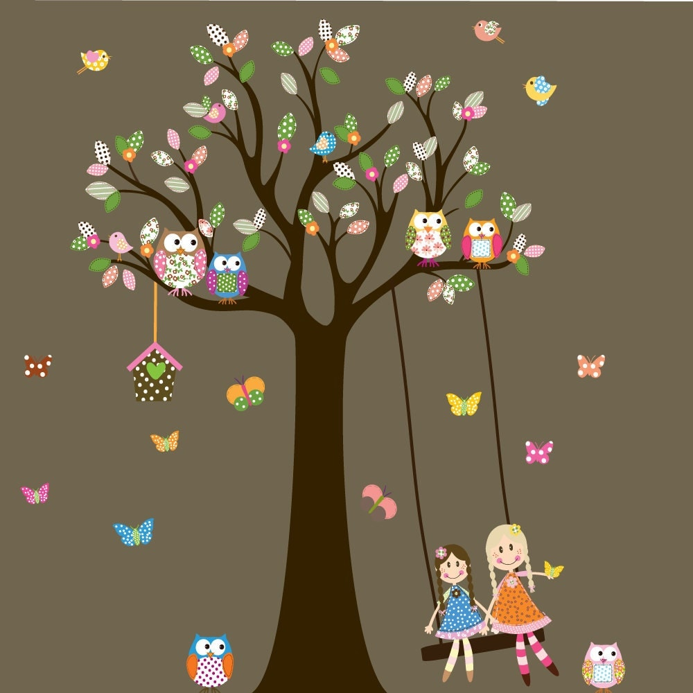 Vinyl wall decal stickers owl tree with swing and dolls birds for Interieur stickers