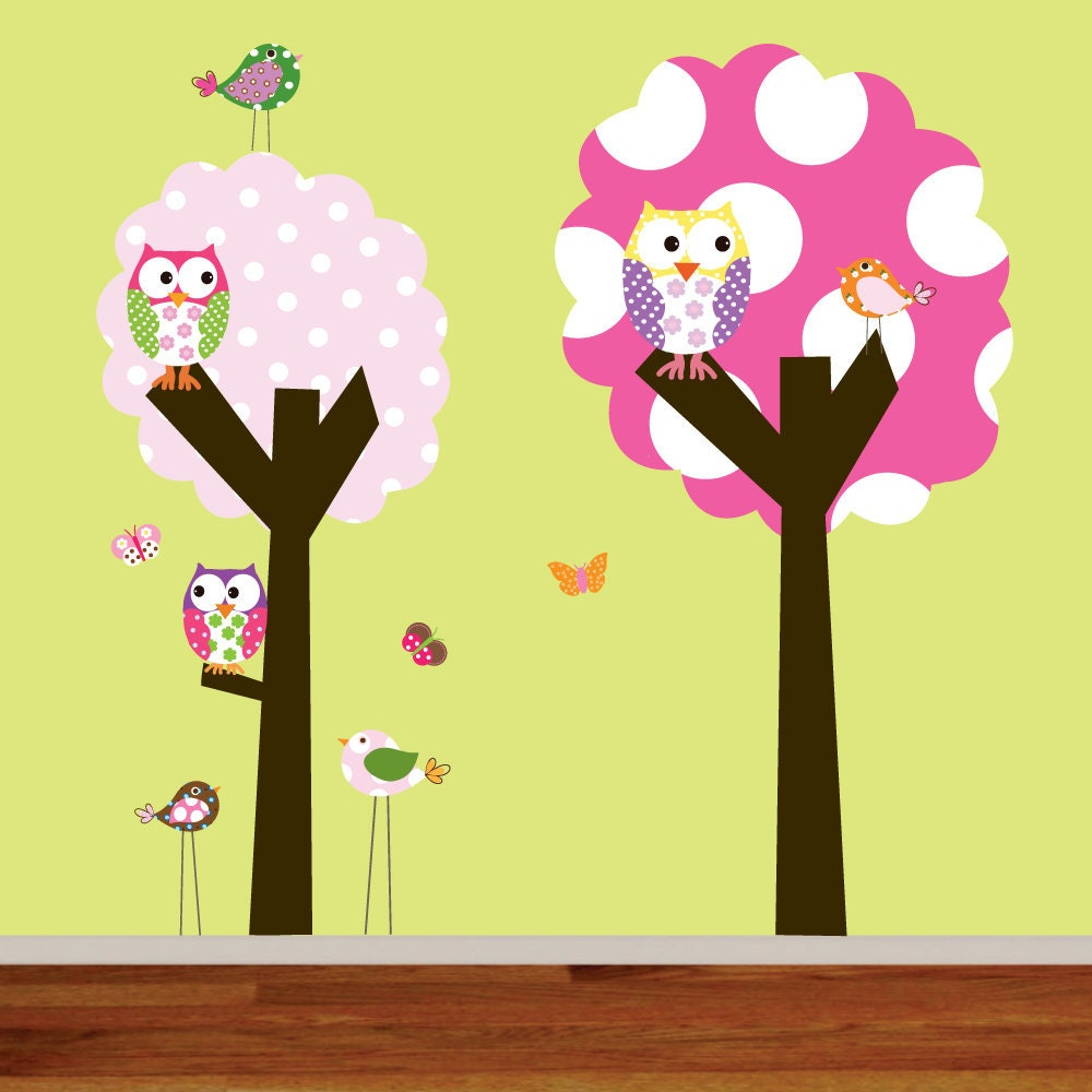 Childrens wall decals polka dot trees owls birds vinyl wall for Bird and owl tree wall mural set