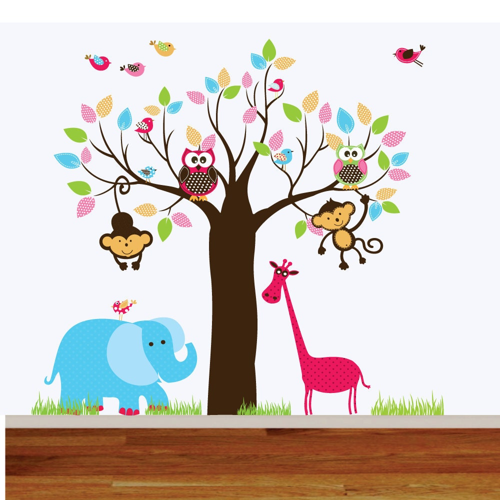 Beautiful Wall Decals For Playroom : Wall Decals Jungle Nursery Playroom Wall Decal  By Wallartdesign Part 25