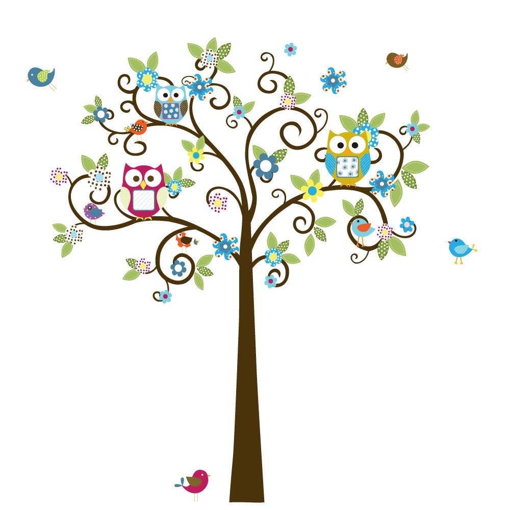 swirl flower tree with owls and birds baby nursery vinyl wall free clip art owl borders free clip art owls in the spring