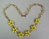 Jonquil Crystal & Rhinestone Flower Necklace