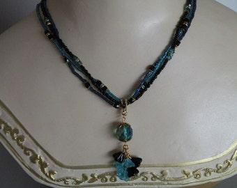 Aqua and Jet Flower Necklace