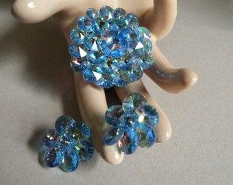 Vintage Crystal Brooch & Earring Set