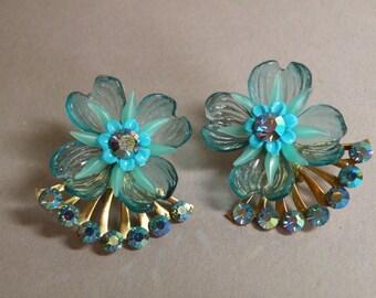 Aqua Flower & Rhinestone Earrings