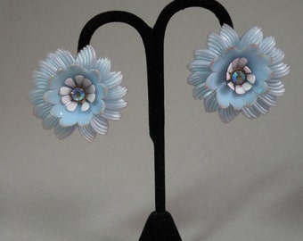 Sky Blue Flower & Rhinestone Earrings