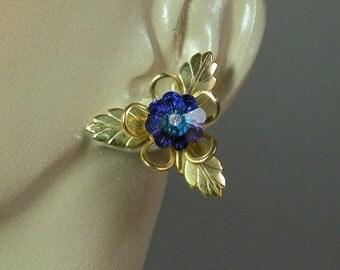 Peacock Swarvoski Flower Earrings
